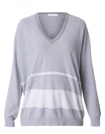 Grey and White Striped Lurex Cotton Wool Sweater