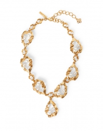 Gold Crinkled Metal and Pearl Necklace