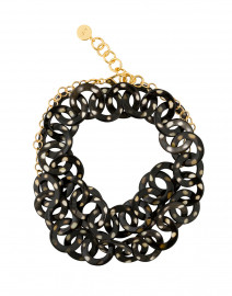 Gold Spotted Black Horn Link Necklace