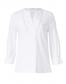White Stretch Cotton Poplin Blouse