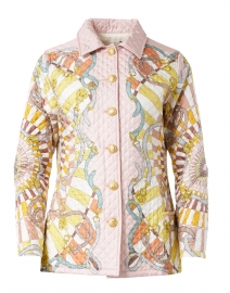 Firenze Melon Printed Silk Quilted Jacket