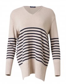 Pontivy Natural and Navy Striped Cashmere Sweater