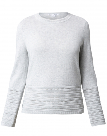 Grey Pointelle Cotton Sweater