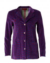 Aubergine Printed Cotton Velvet Jacket