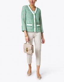 Edward Achour - Green and White Tweed Button Down Jacket
