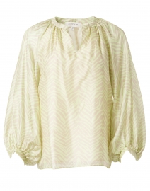 Norwood Key Lime and Beige Zebra Print Silk Blouse
