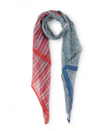Dupatta Blue and Red Printed Cotton Scarf