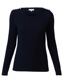 Navy Cashmere Sweater with Pearl Shoulder