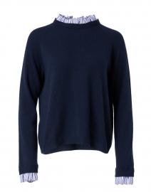 Navy Ruffled Cashmere Sweater