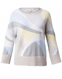 Grey and Yellow Intarsia Cashmere Sweater