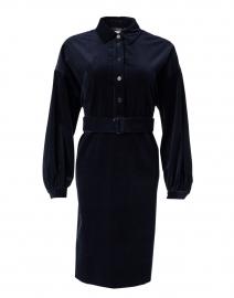 Ceylon Navy Cotton Velvet Shirt Dress