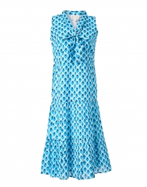 Blue Teardrop Print Cotton Voile Dress