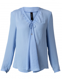 Powder Blue Tie Neck Blouse