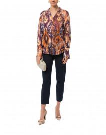 Les Copains - Orange and Indigo Printed Silk Blouse