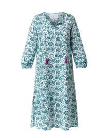 Voile Green and White Flower Print Dress
