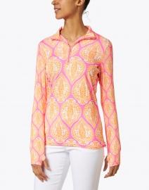 Gretchen Scott - Pink and Orange Leaf Printed Stretch Top