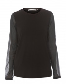 Neysha Black Jersey Chiffon Sleeve Top