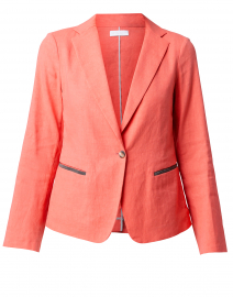 Coral Linen Blazer with Brilliant Detail