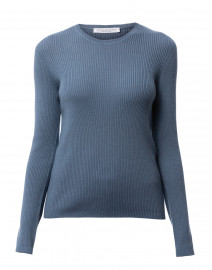 Bacco Blue Ribbed Wool Sweater