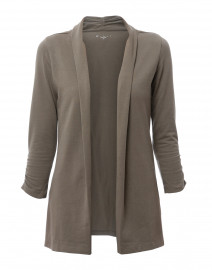 Sage Green Ruched Sleeve Cotton Cardigan