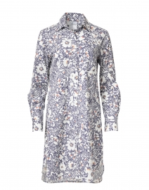 Alex White and Navy Floral Print Shirt Dress