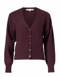 Mahogany Cable Knit Cashmere Cardigan