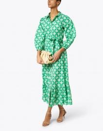 Ro's Garden - Maxima Green Leaf Print Cotton Dress