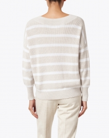 Kinross - Beige and White Striped Cotton Sweater