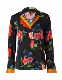 Joyce Black and Multi Floral Stretch Silk Blouse