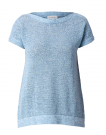 Mirage Blue Mesh Cotton Sweater