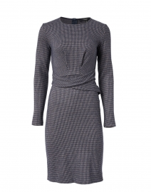 Musette Navy and Grey Houndstooth Jersey Dress