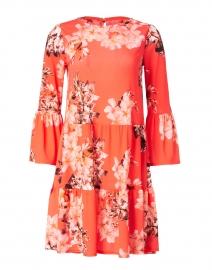 Red Floral Print Chiffon Dress