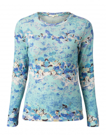 Aqua Blue Floral Silk Cashmere Sweater