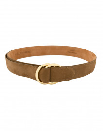 W. Kleinberg - Cocoa Suede Belt with Double Gold Rings
