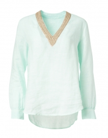 120% Lino - Pacific Green Embellished Linen Shirt