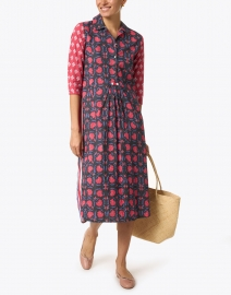 Ro's Garden - Brooklyn Blue and Red Floral Cotton Dress