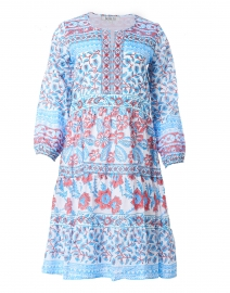 Fiona Red and Blue Floral Cotton Dress