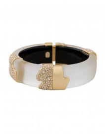 Silver Lucite Crystal Encrusted Hinge Bracelet