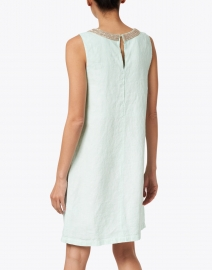 120% Lino - Pacific Green Embellished Linen Dress