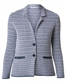 Cetara White and Navy Cardigan