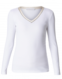 White Cotton Top with Silver Trim