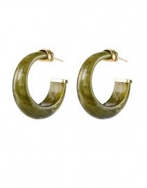 Abalone Green Stone Hoop Earrings