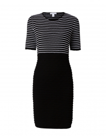 Black and White Scallop Stitch Cotton Dress