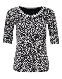 Black and White Animal Print Stretch Cotton Top