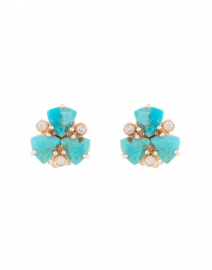 Turquoise Cluster Stud Clip On Earrings