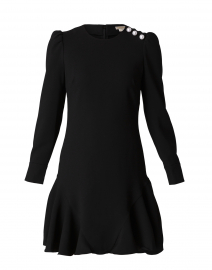 Dara Jet Black Pearl Button Crepe Dress