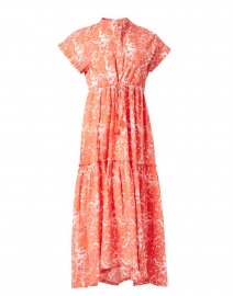 Mumi Coral and White Floral Print Cotton Dress