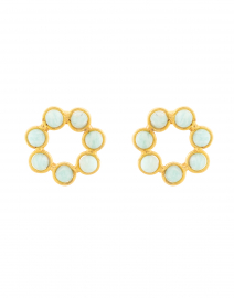 Daisy Amazonite Circle Stud Earrings