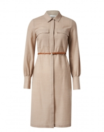 Mullen Beige Wool Shirt Dress