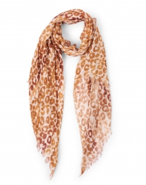 Beige and Brown Animal Printed Silk Cashmere Scarf